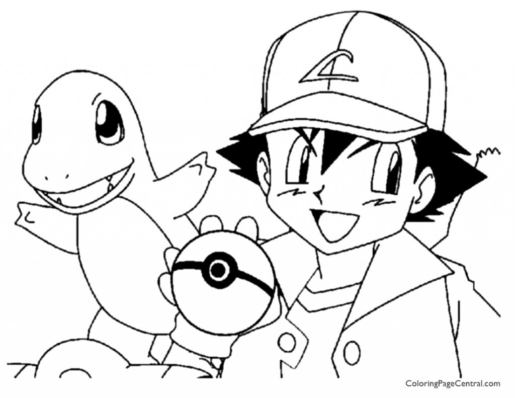 Pokemon - Ash Coloring Page 01 | Coloring Page Central