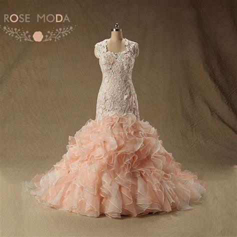 Rose Moda Peach Blush Pink Wedding Dress Cap Sleeves Lace