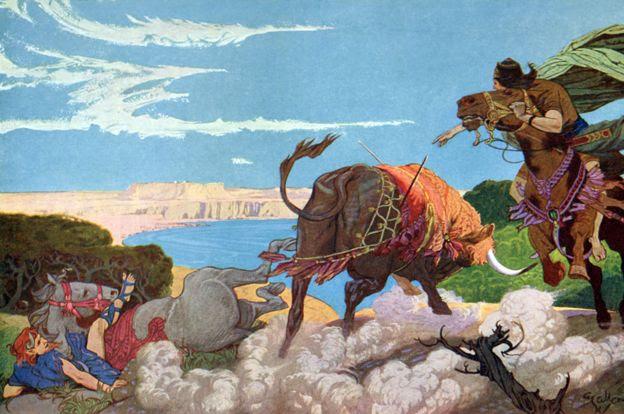 Painting of Gilgamesh on horseback slaying a bull