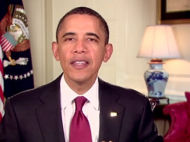 Obama Weekly Address with lamp
