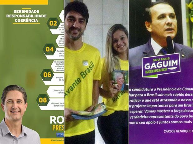 Da esq. para a dir.: folheto de campanha de Rogério Rosso; cabos eleitorais de Cristiane Brasil; e propaganda de Carlos Gaguim (Foto: Gustavo Garcia/G1)