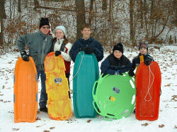 kids with sleds