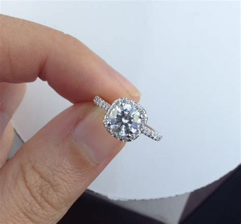 Round Diamond In Cushion Shaped Engagement Ring   Adiamor
