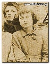 Η Γερόντισσα ΤΑΡΣΩ σε ηλικία 7 ετών στο δημοτικό στην Άνδρο