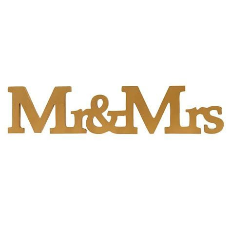 Golden Mr & Mrs Wooden Letters Sign   Pipii