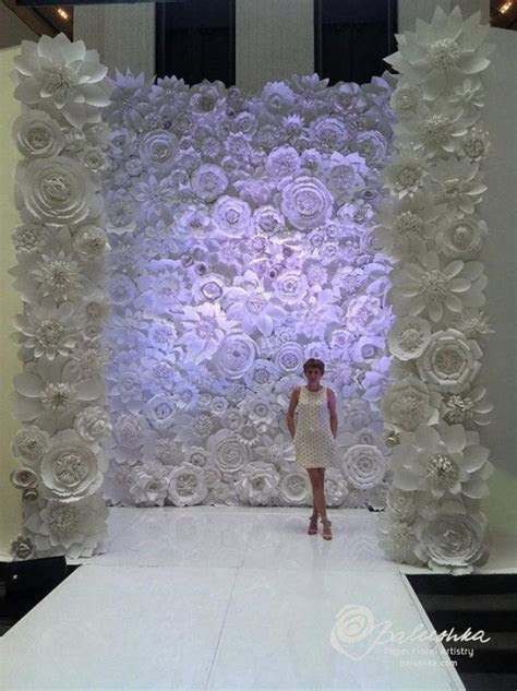 Paper Flower Wall 11' X 16' For Rental White Or Ivory