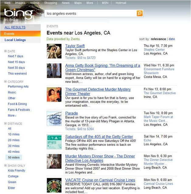 Bing Events Search