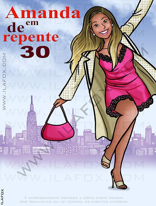 caricatura de repente 30, caricatura personalizada, caricatura divertida, caricatura aniversario, caricatura 30 anos, by ila fox