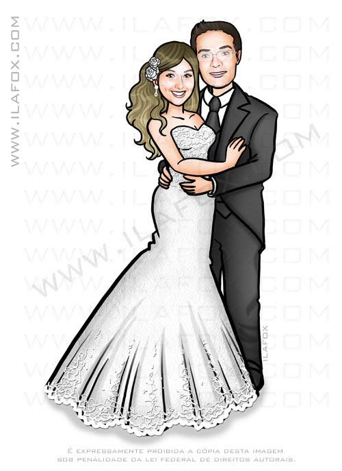 caricatura sem exagero, caricatura bonita, caricatura casal, caricatura noivos, caricatura para casamento, by ila fox