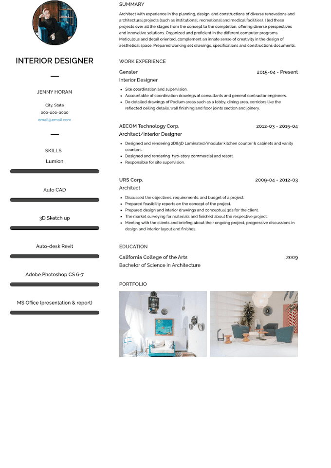 Interior Designer Cv Interior Design Resume Examples Template Complete Guide Cleverism This Interior Designer Cv Template