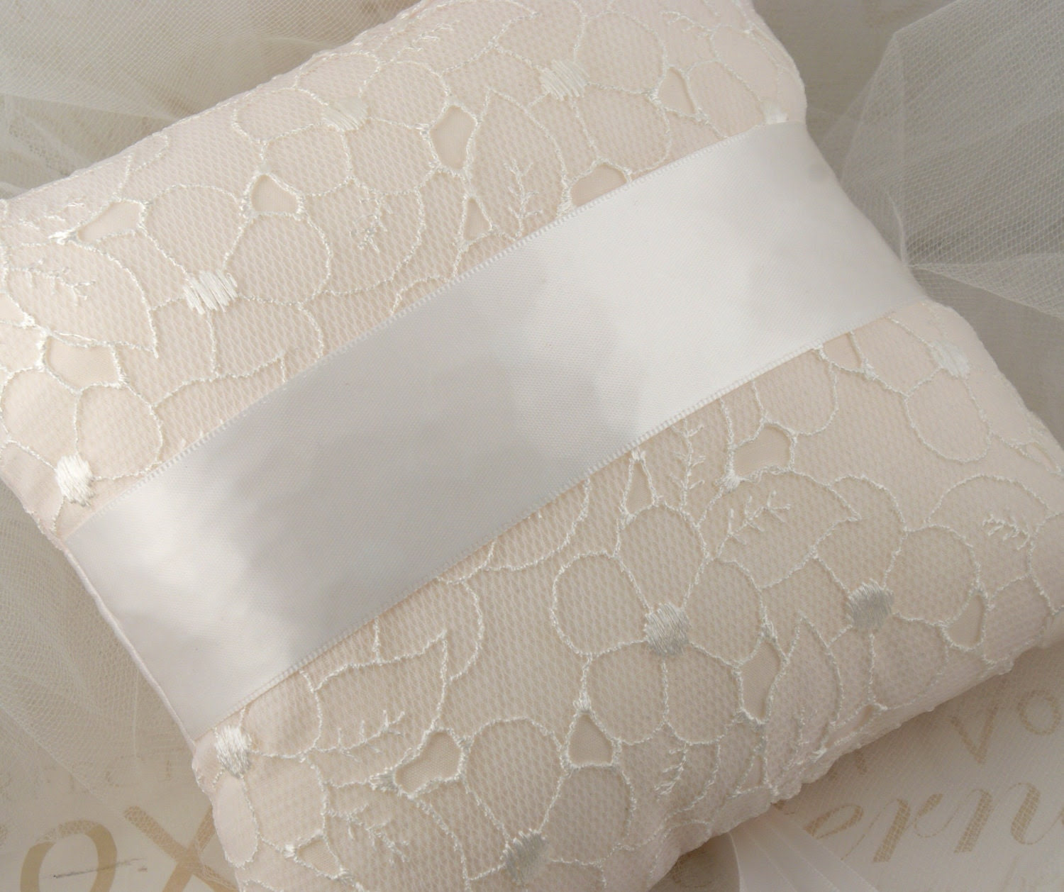 Bridal Ring Pillow White, Cream and Ivory with Lace and Chiffon Flowers, Jewels and Pearls- Lea