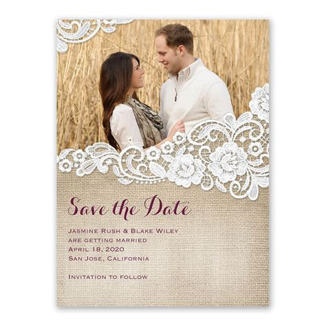 Burlap and Lace Save the Date Card   Ann's Bridal Bargains
