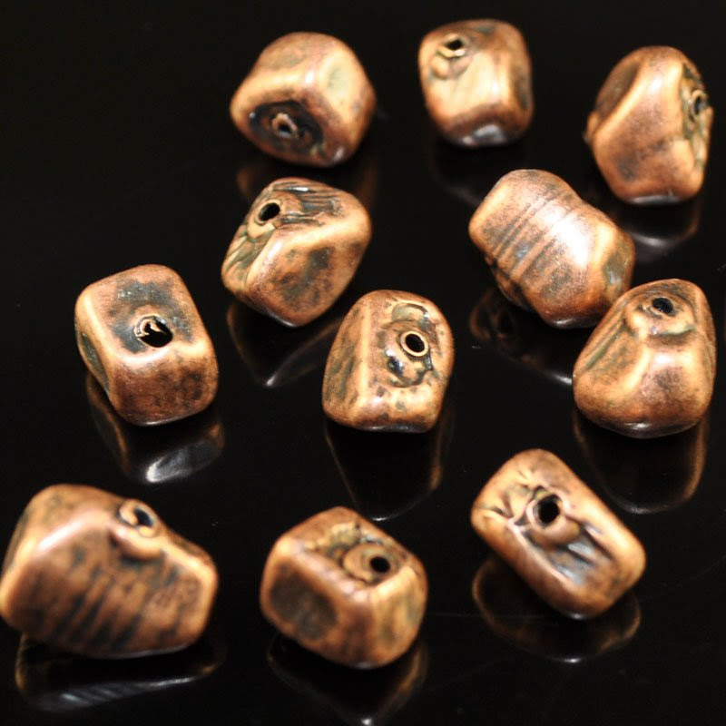 s40734 Metal Beads -  Pebbles - Antiqued Copper (1)