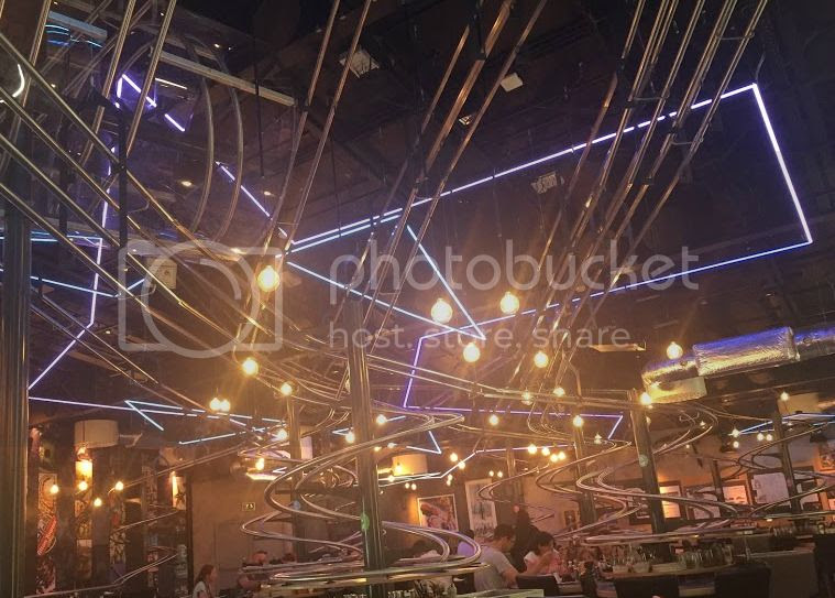 inside rollercoaster restaurant