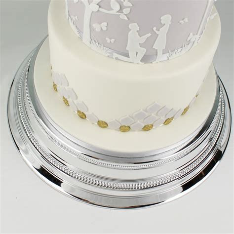 Round 14 Inch Plain Silver Cake Stand