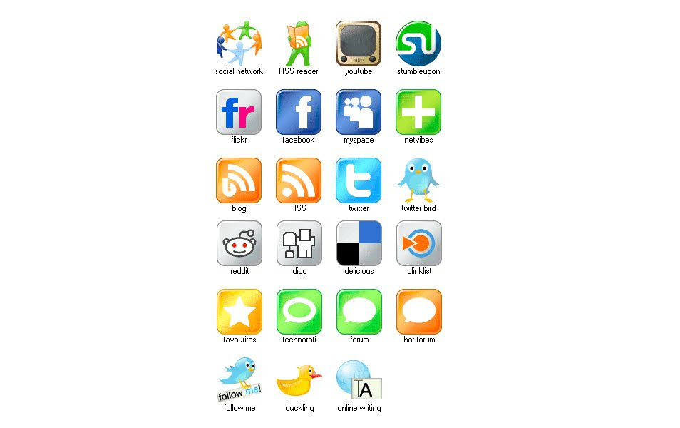 Free Set of Social Media Icons – Large Icons Social