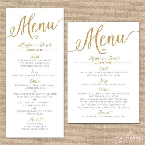Gold Wedding Menu Cards, Wedding Menu Template Gold