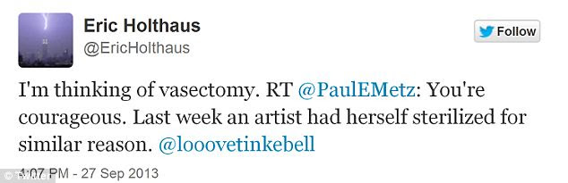 Vasectomy: His last tweet toys with the idea of getting sterilised
