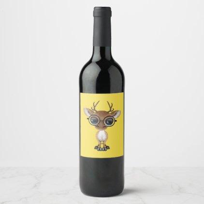 Nerdy Baby Deer Wearing Glasses Wine Label