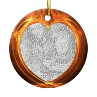 Flaming Orange Photo Graduation Keepsake ornament
