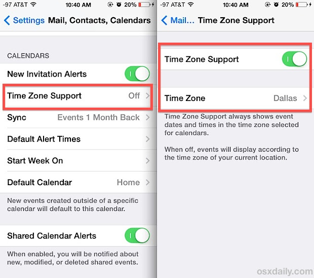 Enable time zone support in Calendar for iOS