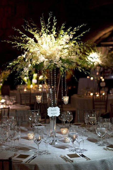 Tall, White Dendrobium Centerpiece   Event Planning