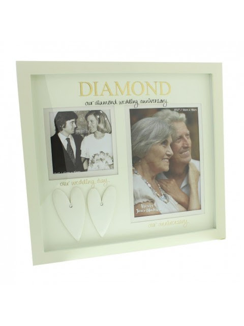 Golden Wedding Anniversary Double Photo Frame