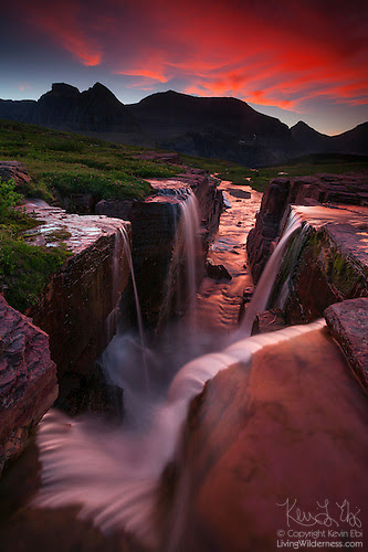 Waterfalls at Continental Divide, Glacier National Park, Montana