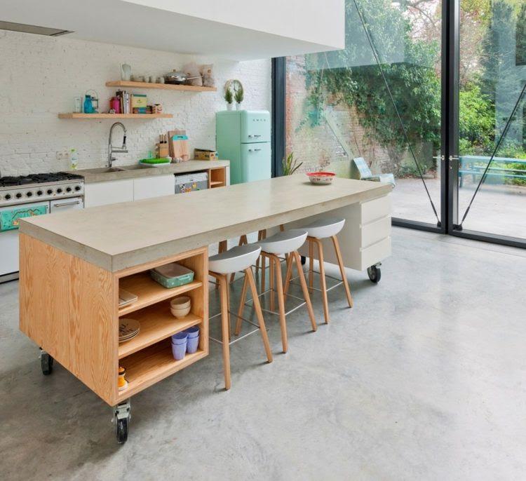 Deko Ideen: Mobile Kücheninsel & Retro Kühlschrank in ...