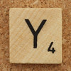 Wood Scrabble Tile Y