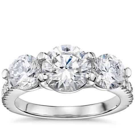 Three Stone Petite Pave Trellis Diamond Engagement Ring in