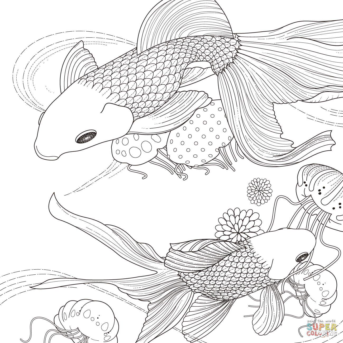 Golden Fish coloring page   Free Printable Coloring Pages