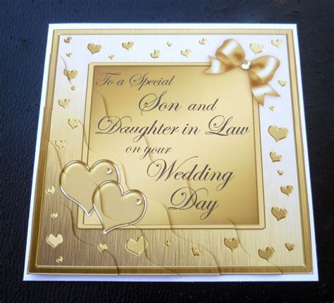 Special Son & Daughter In Law Wedding Day Card   4 Colours