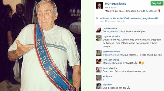 """A foto postada por Bruno Gagliasso, quando Gleizer foi eleito o """"Bofe do Mês"""" pela turma da novela Caminho das Índias (Foto: Reprodução Instagram)"""