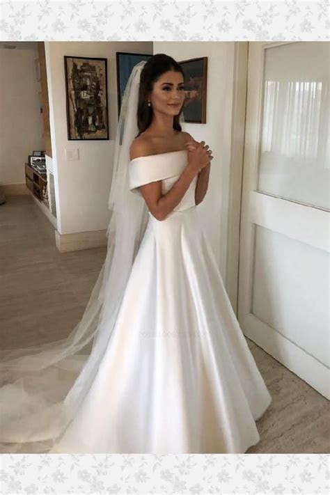 Cheap Popular 2019 Princess Style Off Shoulder Satin