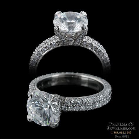 Michael B. Platinum Double Row Flat Band Engagement Ring