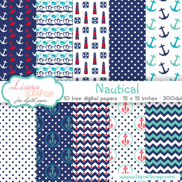 Free digital paper pack – Nautical Set
