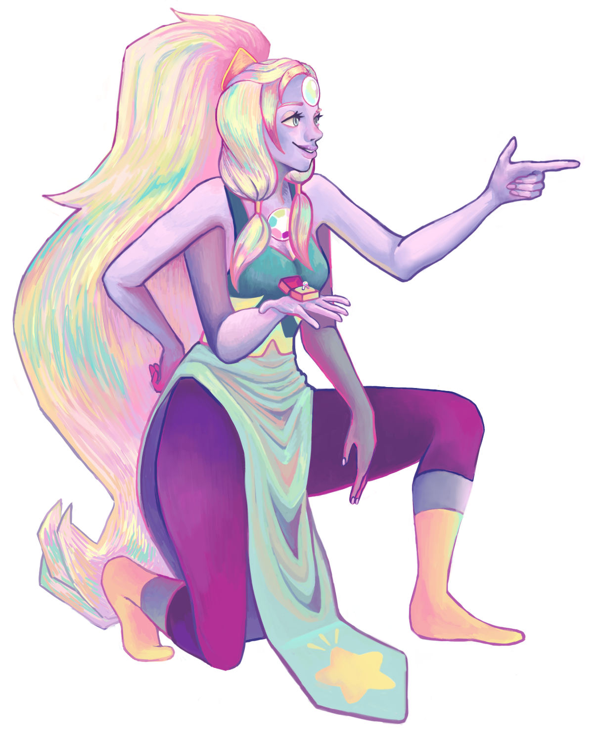 giant colorful woman down on one knee, ready for marriage