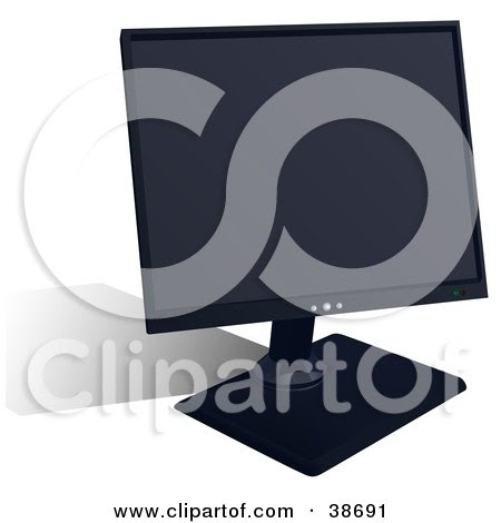 Royalty-free technology clipart picture of a flat LCD computer monitor,