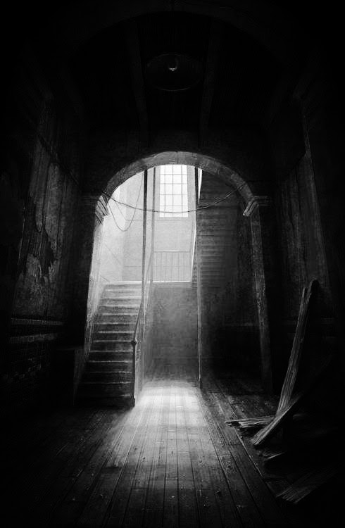 This picture inspires stories. I could dream up a horror story from one glance. Should we go down to the basement? Would that be a good idea? No, of course not. But in every horror story, the characters always chose to walk down those dreaded stairs. I'm guilty of this! In my book, they trudge down the dark stairs. Nothing good lies ahead for them.