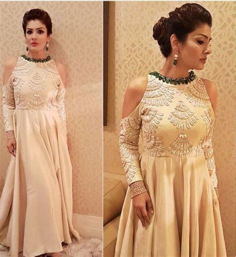 Raveena Tandon # Manish Malhotra # cold shoulder gown