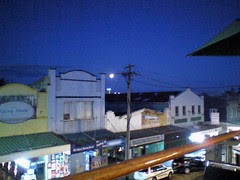 Lunar eclipse over Balmain, Sydney, from the balcony of the Town Hall Hotel.