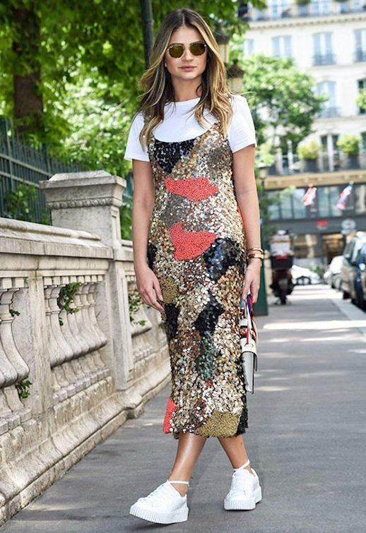 le fashion blog brazilian blogger thassia naves sequin dress rihanna creeper sneakers 90s style dresses over tees via asos