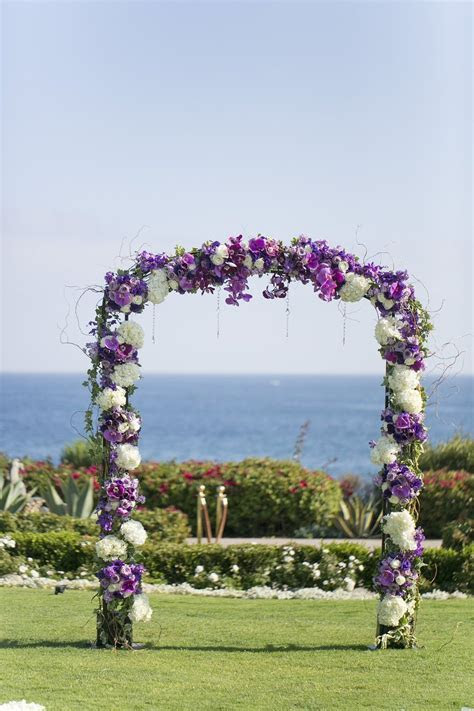 Wedding Ceremony Flower Arch. Purple, white wedding arch