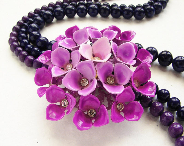 Jewel Tone purple ombre flower statement necklace - detachable vintage repurposed OOAK plum violet flower brooch statement necklace
