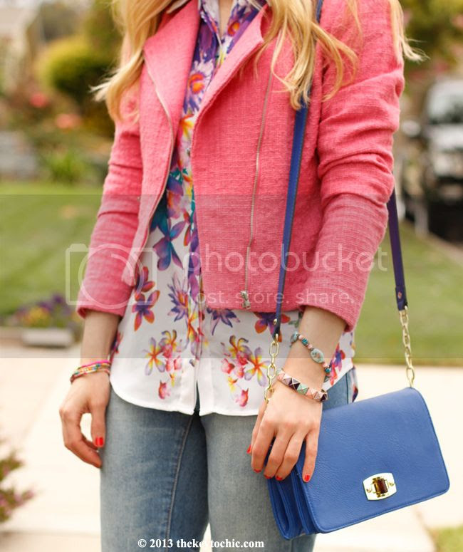 Mossimo cropped jeans, Mossimo floral sleeveless blouse, H&M pink tweed blazer, L.A. fashion blog