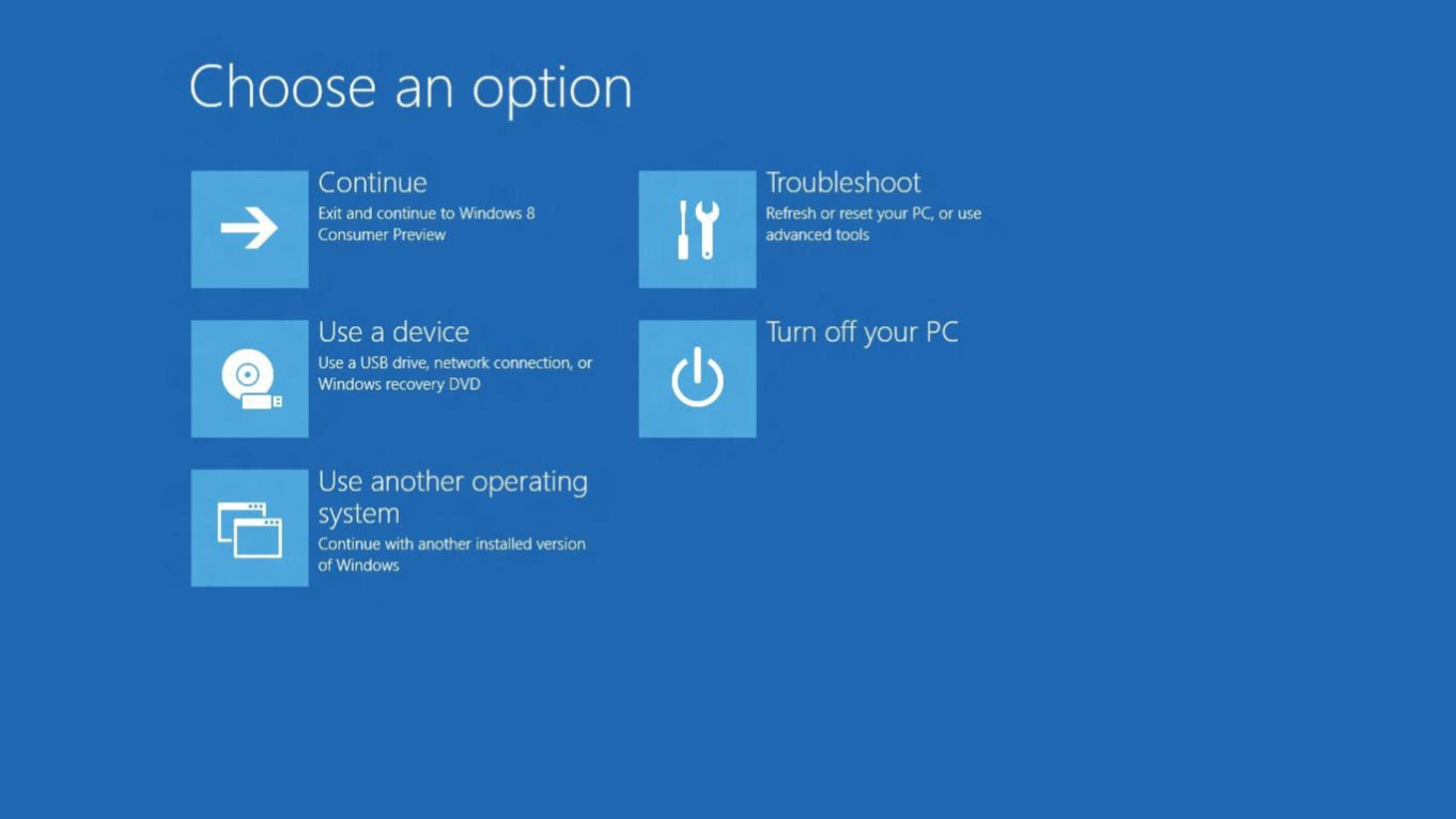 boot options menu on Windows 8