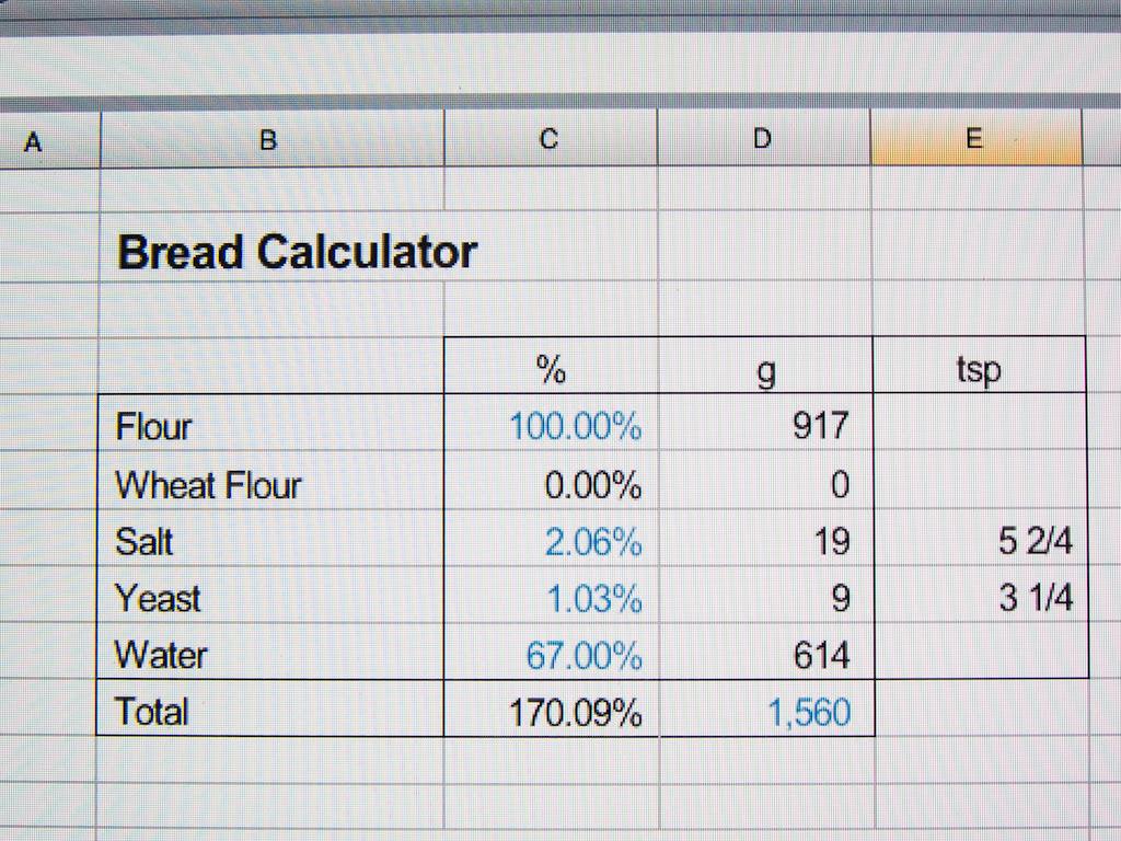 My Bread Calculator | 100 Loaves of Bread