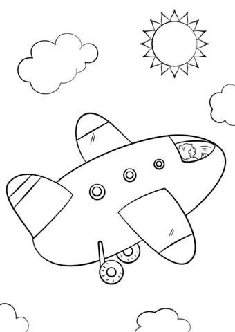 Dibujo De Avión De Dibujos Animados Para Colorear Dibujos Para