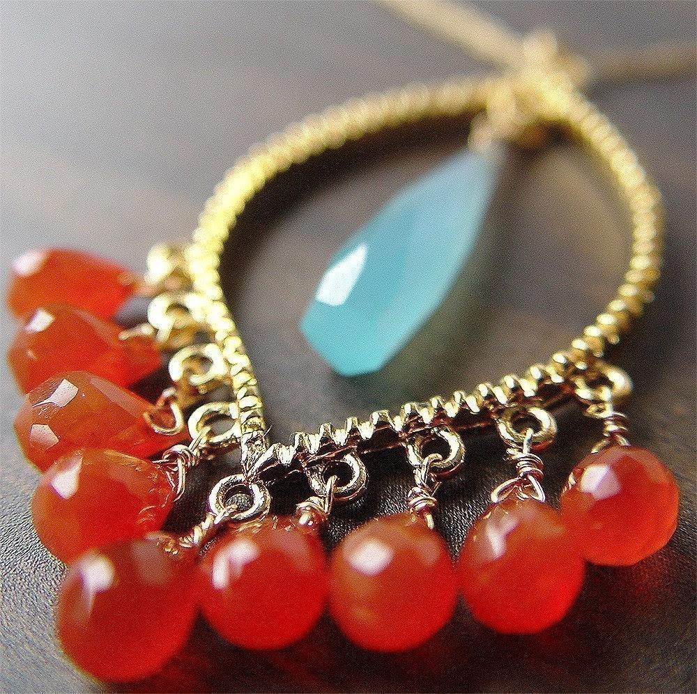 Marrakesh Carnelian Necklace Orange Blue 14k Gold